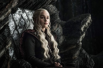 Daenerys (Emilia Clarke) sits on the throne at Dragonstone on 'Game of Thrones'