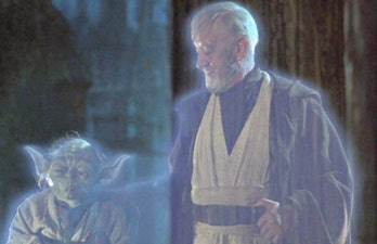 Yoda and Obi-Wan force ghosts in 'Return of the Jedi'