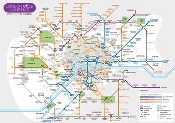 London's cycle network, in the style of the London Underground map.