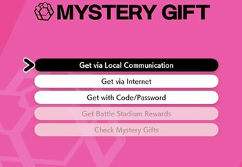 mystery gift menu pokemon sword and shield