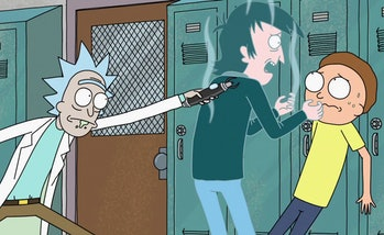 Rick freezes the school bully to help Morty.