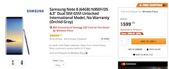 samsung note 8 discount newegg