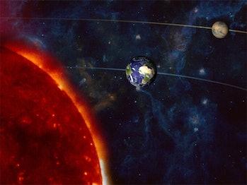 An illustration of Mars in opposition.