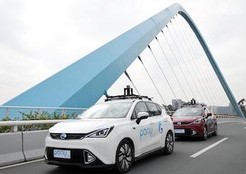 Pony.ai autonomous cars on route