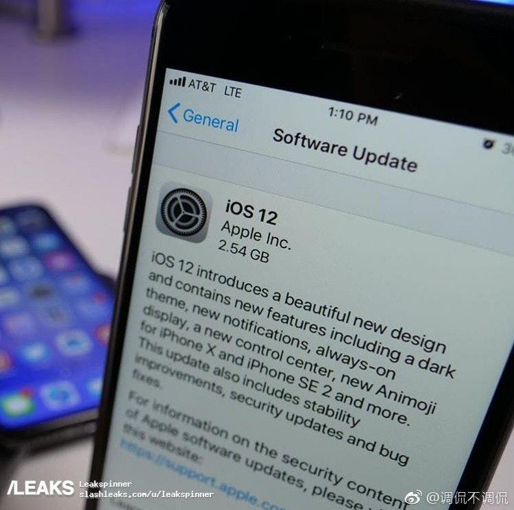 iphone se 2 ios 12 leak image