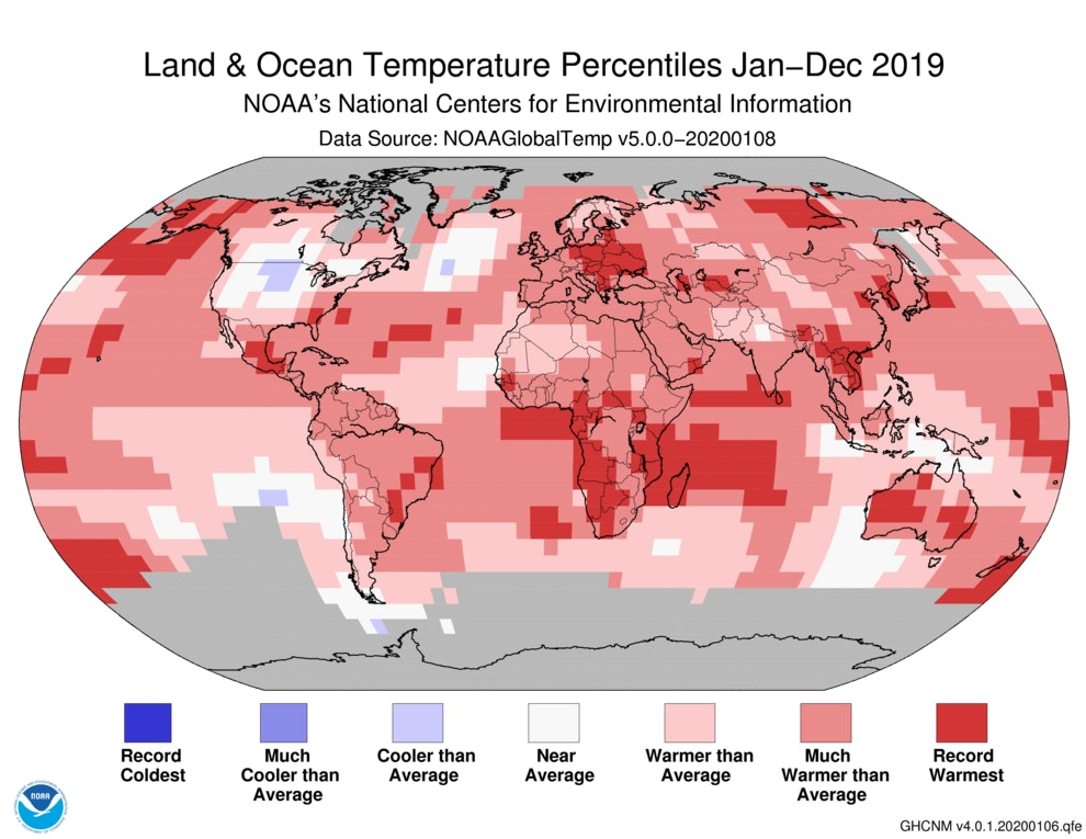 world map showing temperature percentiles for 2019