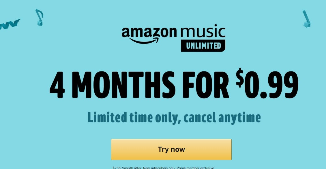 Four Months of Amazon Prime Music Unlimited for 99 Cents