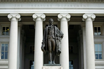 WASHINGTON - SEPTEMBER 19: A statue of the first United States Secretary of the Treasury Alexander Hamilton stands in front of the U.S. Treasury September 19,2008in Washington, DC. Treasury Secretary Henry Paulson announced that the Treasury will insure money market mutual funds as one part of a massive government bailout that is attempting to stabilize the current financial crisis. (Photo by Chip Somodevilla/Getty Images)
