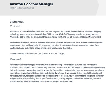 A portion of the job posting for the manager position at the NYC Amazon Go store.