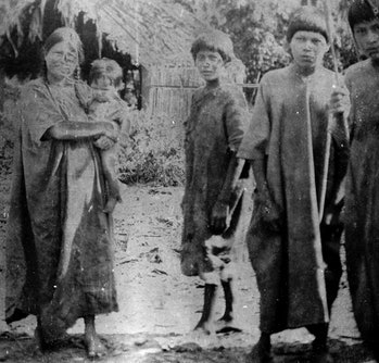 This photo, taken in 1912 during anthropologist Erland Nordenskiöld's trip to Bolivia, shows a group...