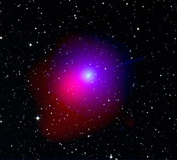 This image of Comet Lulin was taken by Swift on January 28, 2009. It shows data obtained by Swift's Ultraviolet/Optical Telescope (blue and green) and X-Ray Telescope (red). The image of the star field (white) was acquired by the Digital Sky Survey. At the time of the observation, comet Lulin was 99.5 million miles from Earth and 115.3 million miles from the sun. The ultraviolet light comes from hydroxyl molecules and shows that, at this time, Lulin was shedding 800 gallons of water every second.
