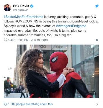 erik davis spider man far from home reaction