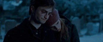 Harry Potter and Hermione Granger share a sad moment.