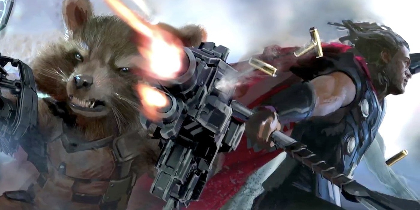 The footage leans into the Guardians of the Galaxy team-up with Thor.