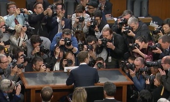 Mark Zuckerberg after testifying before Congress in April.