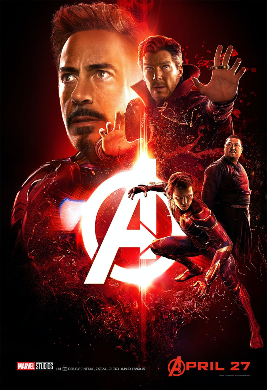 'Infinity War' poster with Iron Man, Doctor Strange, Wong, and Spider-Man