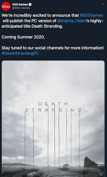 twitter 505 games death stranding