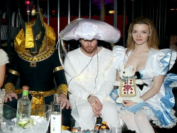 Elon Musk, entrepreneur Sean Parker, and actress Talulah Riley attend the annual Halloween Party, hosted by Playboy and Hugh Hefner, at the Playboy Mansionon October 24, 2015