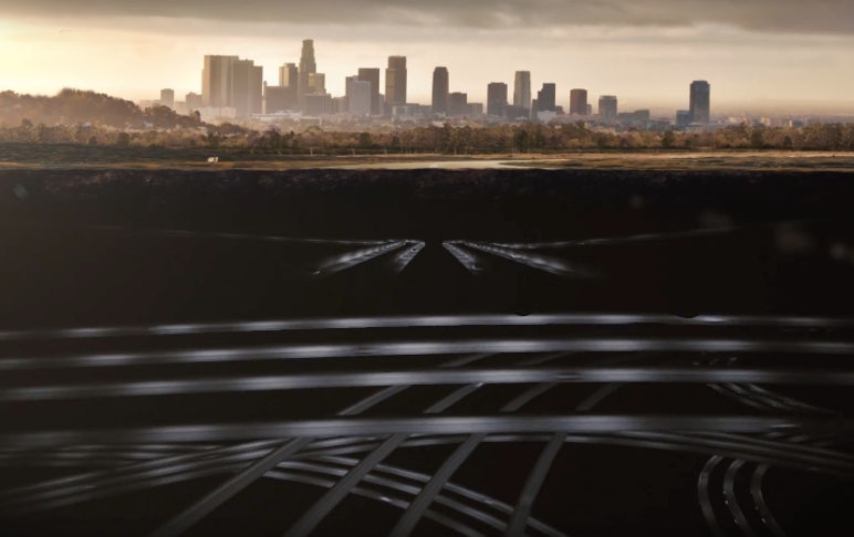 An illustration via The Boring Company imagines a system of tunnels running underneath cities like L.A.