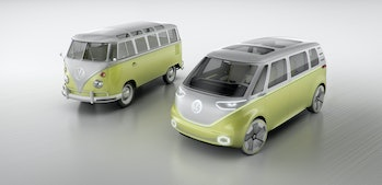 The original Microbus next to an ID Buzz.