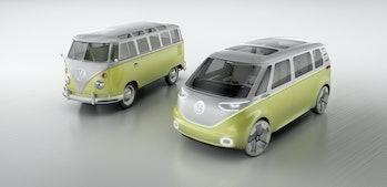 The original Microbus next to an ID Buzz.