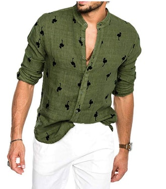 Karlywindow Mens Summer Casual Flamingo Shirts Buttons Down Roll Up Hawaiian Shirt