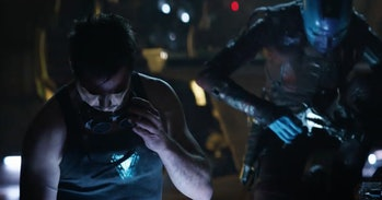 Robert Downey Jr. as Tony Stark in the 'Avengers: Endgame' trailer that aired before the Super Bowl. What's he welding?