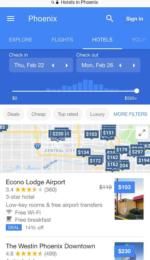 Google, hotels