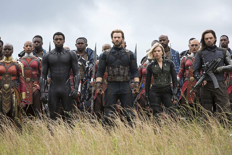 Chadwick Boseman, Chris Evans, Scarlett Johansson, and Sebastian Stan in 'Avengers: Infinity War'