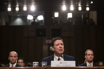 WASHINGTON, DC - JUNE 08: Former FBI Director James Comey testifies before the Senate Intelligence Committee in the Hart Senate Office Building on Capitol Hill June 8, 2017 in Washington, DC. Comey said that President Donald Trump pressured him to drop the FBI's investigation into former National Security Advisor Michael Flynn and demanded Comey's loyalty during the one-on-one meetings he had with president. (Photo by Drew Angerer/Getty Images)