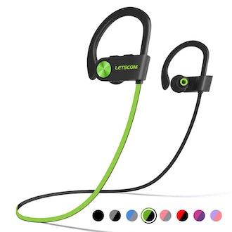 LETSCOM Bluetooth Headphones IPX7 Waterproof Sport Earphones