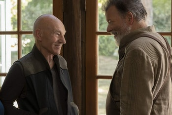Patrick Stewart as Jean-Luc Picard and Jonathan Frakes as Riker in 'Star Trek: Picard'