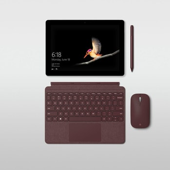Microsoft Surface Go with accessories.