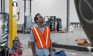 Josh Giegel at the Hyperloop One metalworks.