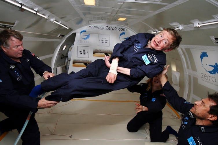 Hawking in zero gravity.