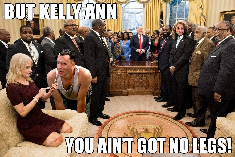 The Kellyanne Conway sitting meme blew up the internet.