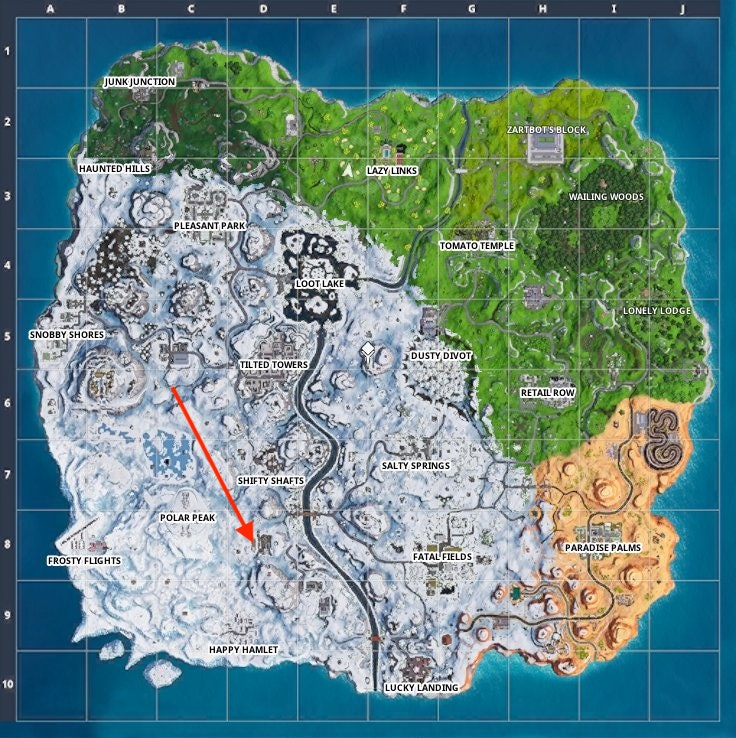 Fortnite Week 9 Snowfall Map