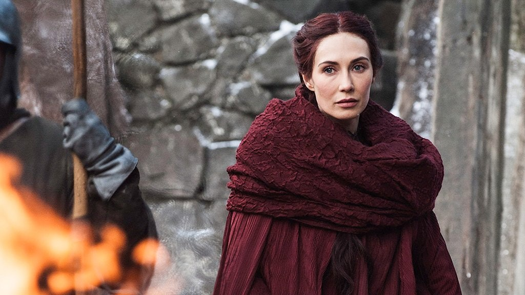 Melisandre (Carice Van Houten) in red robes on HBO's'Game of Thrones'