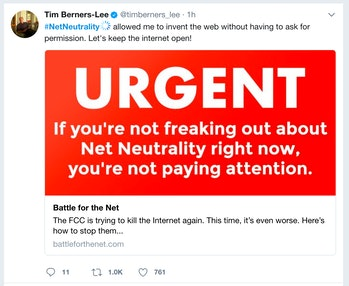 Twitter as it appears on Net Neutrality Day of Action.