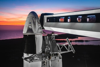 The SpaceX Crew Dragon is seen in this rendering. The spacecraft would carry astronauts to the ISS, ending US reliance on Russia and its Soyuz capsule to ferry NASA astronauts between Earth and the ISS.