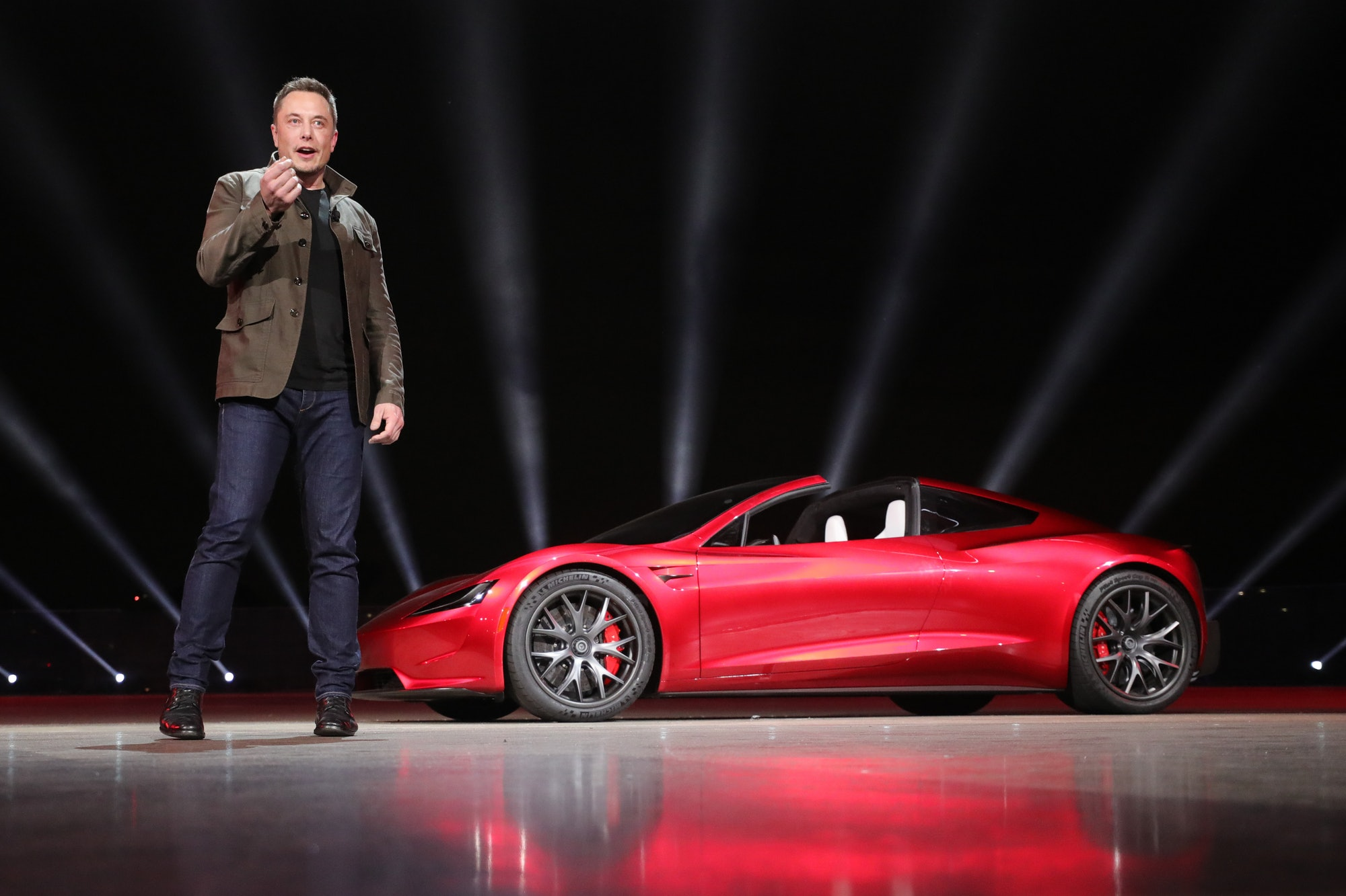 Elon Musk at the Tesla Semi event in November 2018, where he surprisingly debuted the next-generation Tesla Roadster.