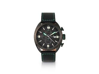 Morphic M64 Series Chronograph Leather-Band Watch (Black/Black)