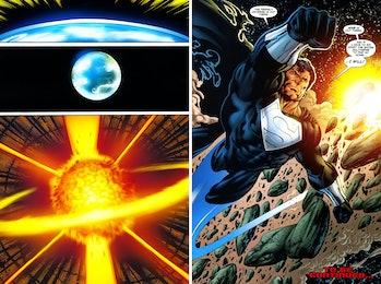 Superboy-Prime destroys Earth-15.