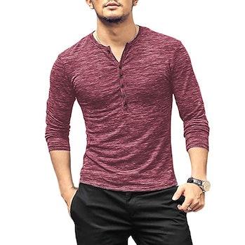 WULFUL Men's Casual Slim Fit Henley Shirt Lightweight Long Sleeve Basic Summer Fashion T-Shirt