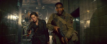 Mathilde Ollivier as Chloe and Jovan Adepo as Pvt. Boyce in 'Overlord'.