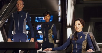 Doug Jones as Lt. Saru, Sonequa Martin-Green as First Officer Michael Burnham, and Michelle Yeoh as Philippa Georgiou in 'Star Trek: Discovery'.