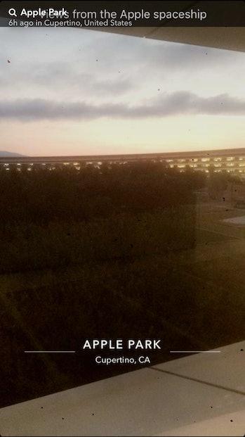 The sun illuminates the campus roof.