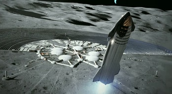 SpaceX's Starship landing on the moon.