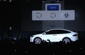 Tesla Model X demo shows off bioweapons defense mode.
