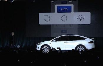 Tesla Model X demo shows off bioweapons defense mode.
